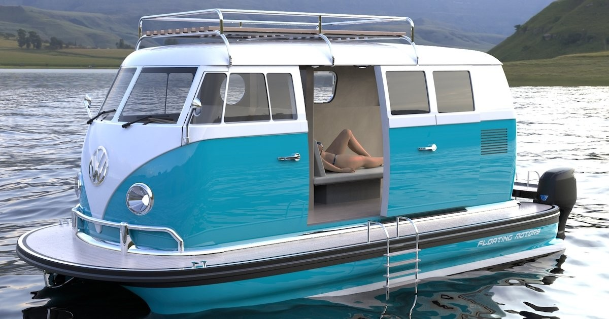 Creative Design Turns a VW Bus Into a Luxury Pontoon Boat